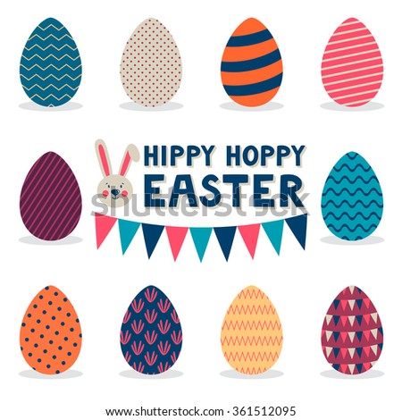 """Vector set of different isolated on white elements: eggs, garland of flags, cute rabbit and text """"Hippy hoppy Easter"""". Holiday background. Cute Easter card. - stock vector"""