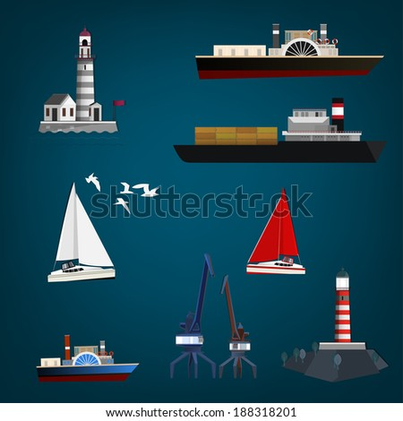 Vector set of different marine objects - stock vector