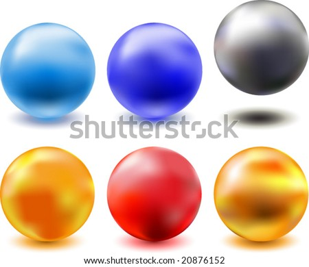 vector set of different metallic glazed spheres