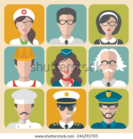 Vector set of different professions man and woman icons in trendy flat style - stock vector