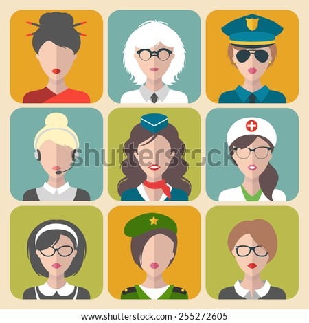 Vector set of different professions woman icons in trendy flat style - stock vector