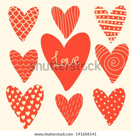 Vector set of different red hearts - stock vector