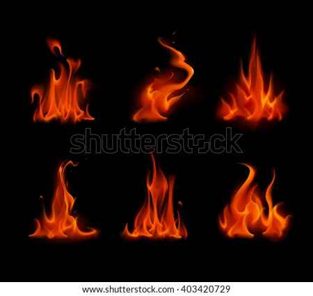 Vector Set of  Different Red Scarlet Fire Flame Bonfire  Isolated on Background - stock vector