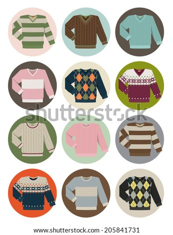 Vector set of different round neck and v-neck sweater icons - stock vector