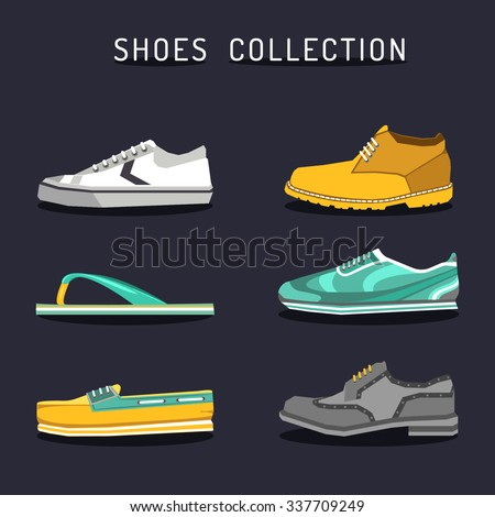 Vector set of different shoes icons in flat style. Footwear collection. Boot, ked, sneacker, oxford, sleepper, topsider illustrations. Footgear logos. - stock vector