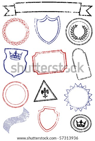 Vector set of different stamps. All objects and details are isolated and grouped. Stamps have a transparent background. They can overlap. Colors are easy to customize. - stock vector
