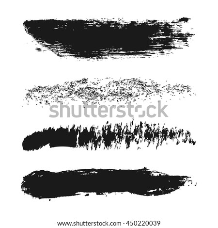 Vector set of different strokes of brushes. Ink, spray, ragged, rough. Grunge. Four isolated element.