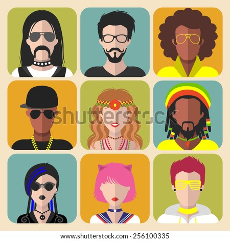 Vector set of different subcultures man and woman app icons in trendy flat style. Goth, raper, hippy, hipster, raver, rocker, rastafarian, anime and disco fan web flat icons - stock vector