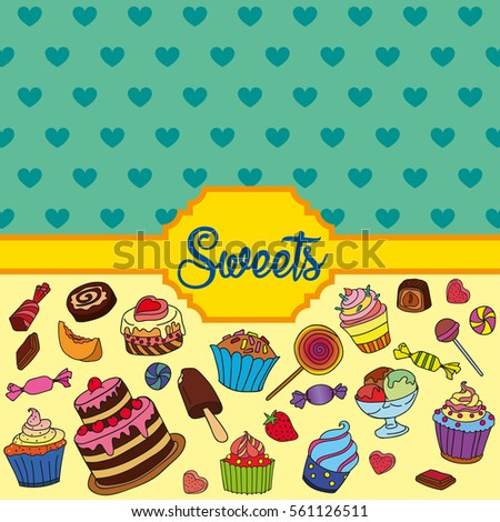 Vector set of different sweets. Colorful background with sweets. Perfect for printing on fabric or paper.