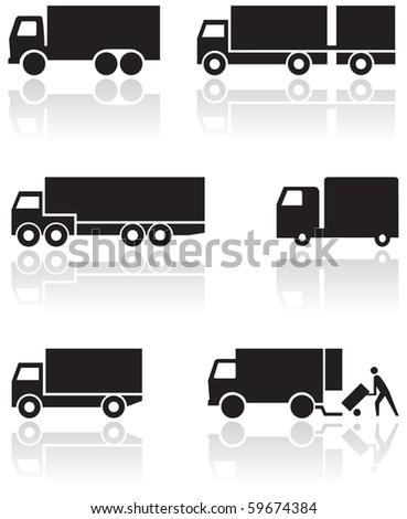 Vector set of different truck symbols. All vector objects are isolated. Colors and transparent background color are easy to adjust. - stock vector