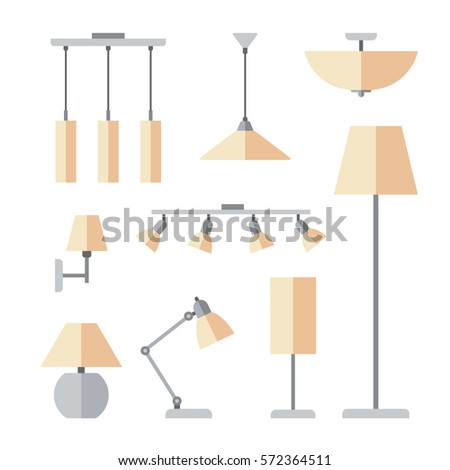 Vector set different types indoor lighting vector de stock572364511 vector set of different types of indoor lighting pendant ceiling light spotlight aloadofball