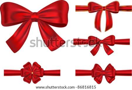 Vector set of different types of red satin ribbons with bows - stock vector