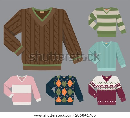 Vector set of different v-neck wool and cotton sweaters for men - stock vector