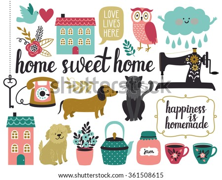 """Vector set of different vintage elements: sewing machine, houses, key, frames, cloud, bird, flowers, leaves, tea cups, kettle, dogs, cat, owl, telephone, beautiful hand written text """"Home sweet home"""" - stock vector"""