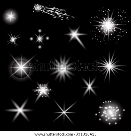 Vector Set of Different White Lights Isolated on Black Background - stock vector
