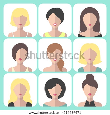 Vector set of different women app icons in flat style. Girls web avatars collection - stock vector