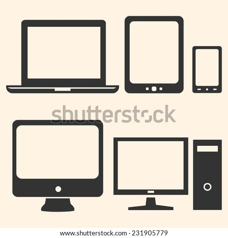 Vector Set of Digital Devices Icons. Laptop, Tablet, Mobile, PC. - stock vector