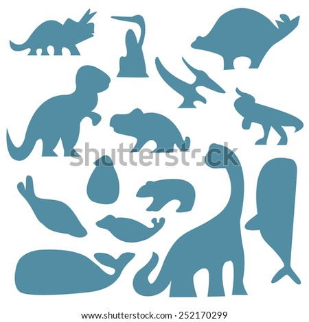 vector set of  dinosaurs and ancient animals silhouettes - stock vector