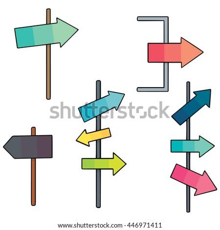 vector set of direction post - stock vector