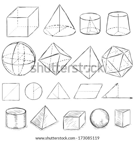 vector set of dirty sketch geometric shapes - stock vector
