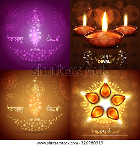 vector set of diwali background illustration with beautiful diya placed on rangoli design - stock vector