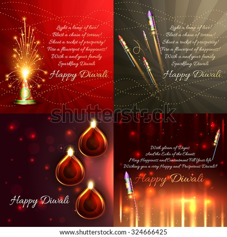 vector set of diwali background with crackers and beautiful diya illustration - stock vector