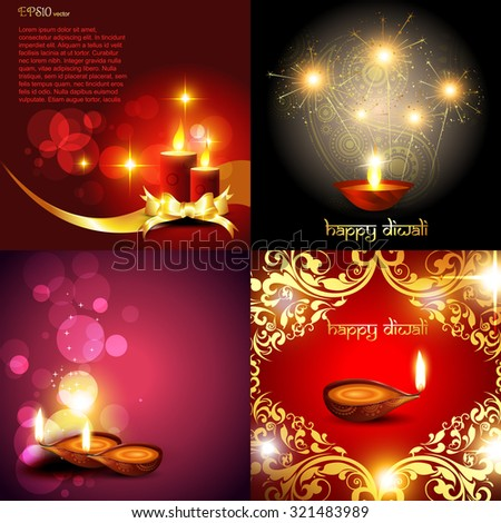 vector set of diwali background with diya, decorated candle, florals and fireworks - stock vector