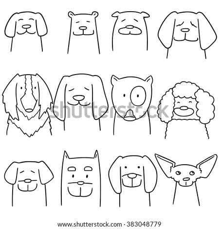 vector set of dog - stock vector