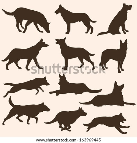 vector set of dogs silhouettes - stock vector