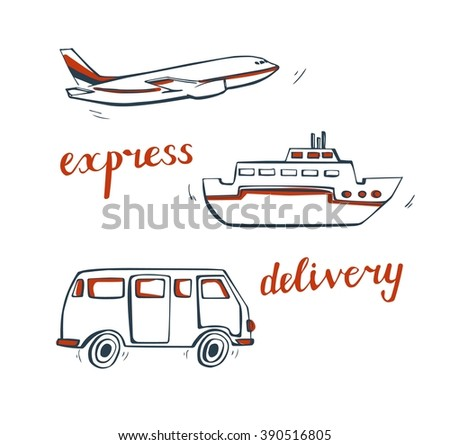 Vector set of doodle delivery transport. Simple hand drawn bus, plane and ship in dark blue and orange colors. Isolated design elements on white background.  - stock vector
