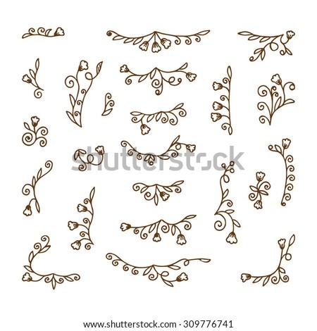 Vector Set of doodle floral design elements. Hand Drawn Doodles illustration - stock vector