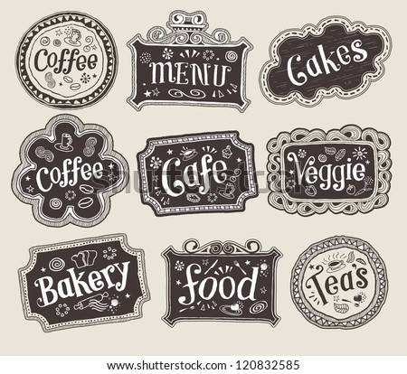 Vector set of doodle labels - stock vector