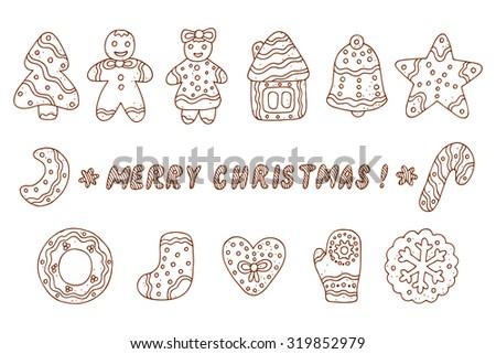 Vector Set of Doodles Christmas Cookies. Gingerbread.  - stock vector