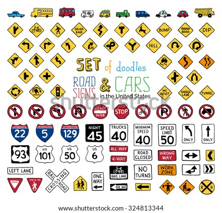 Vector Set Doodles Road Signs Vehicles Stock Vector ...