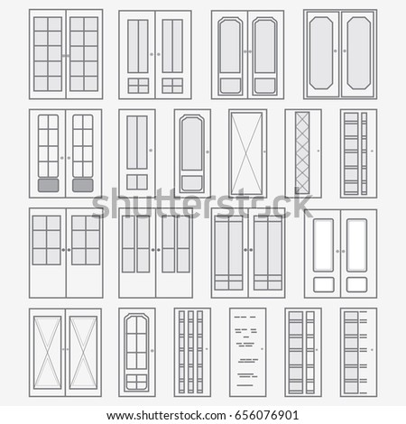Vector set of doors. Collection of stylized interior doors. Linear Art.  sc 1 st  Shutterstock & Linear Door Icons Thin Outline Line Stock Vector 604429784 ... pezcame.com