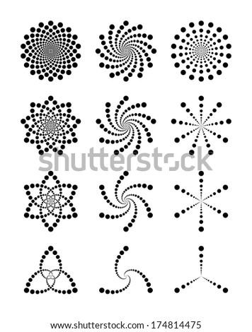 Vector set of dot shapes - stock vector