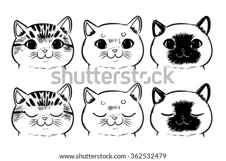 Vector set of Drawing cat face isolated on white background - stock vector