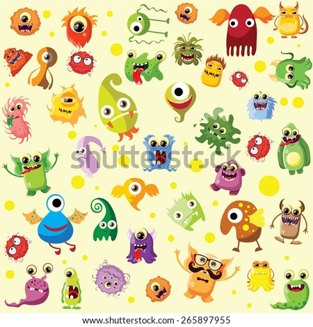 Vector set of drawings of different characters isolated monsters, germs, bacteria, aliens and other Halloween characters for your design, prints and banners  - stock vector