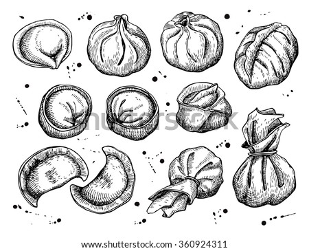 Vector set of dumplings. Vintage sketch illustration. Hand drawn - stock vector