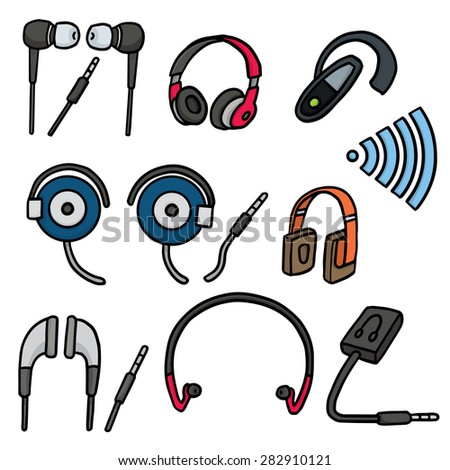 vector set of earphone - stock vector