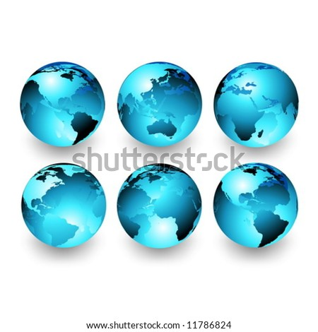 Vector set of Earth globes