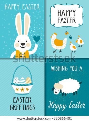 Vector set of Easter cards with cute cartoon characters. Beautiful holiday posters for baby rooms. Childish backgrounds with Easter bunny,sheep, hen with chickens, basket with eggs and Easter wishes. - stock vector