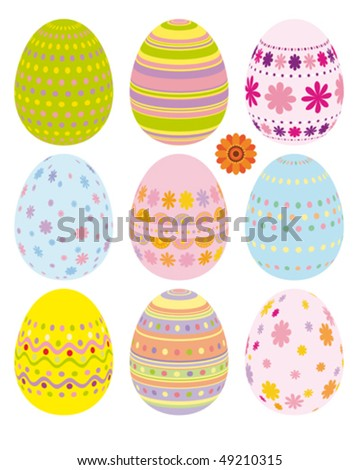 Vector set of Easter eggs - stock vector