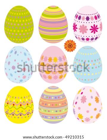 Vector set of Easter eggs - stock vector