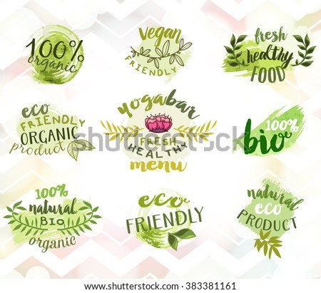 Vector set of eco friendly food labels. Vegetarian bar, restaurant, vegan cafe menu logos. Packaging tags for bio products.