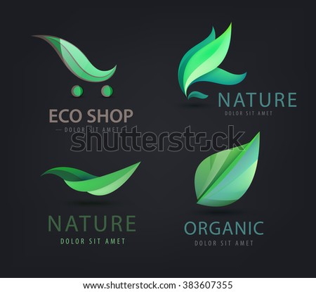 Vector set of eco logos, leaves, organic logos, nature logos. Bio energy, organic shop logo, icon isolated - stock vector