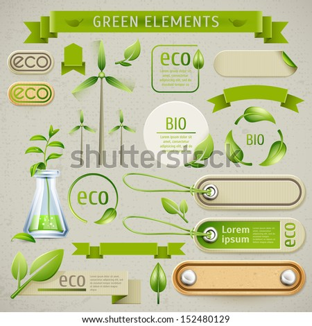 Vector set of eco symbols, labels and icons. Ecology design and production of natural - stock vector