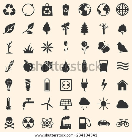 Vector Set of Ecologic Icons - stock vector