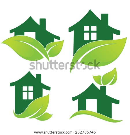 vector set of ecological homes signs and icons  - stock vector