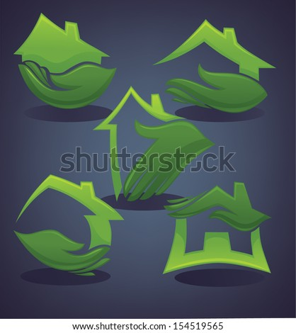 vector set of ecological  homes signs and icons on dark background